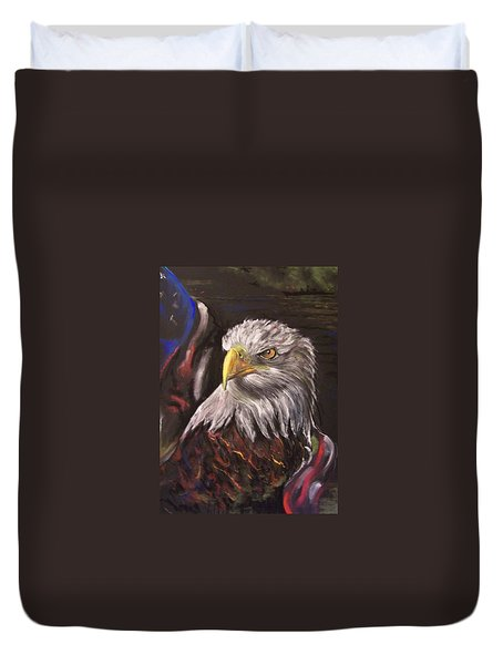 Duvet Cover featuring the pastel American Pride by Peter Suhocke