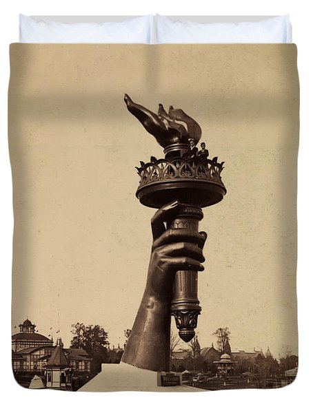 Liberty Torch At Philadelphia For Us Centennial 1876 Duvet Cover by Bill Cannon