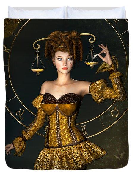 Libra Zodiac Sign Duvet Cover