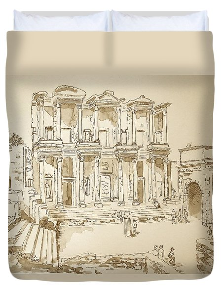 Duvet Cover featuring the painting Library At Ephesus II by Marilyn Zalatan
