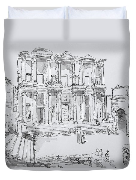 Duvet Cover featuring the painting Library At Ephesus by Marilyn Zalatan
