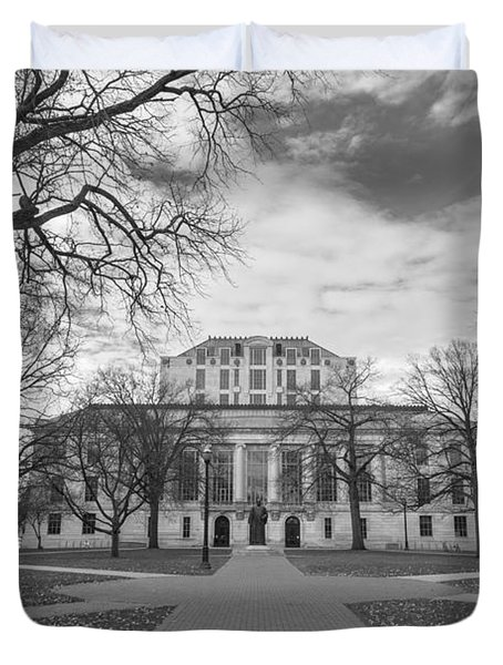 Library Ohio State University Black And White  Duvet Cover