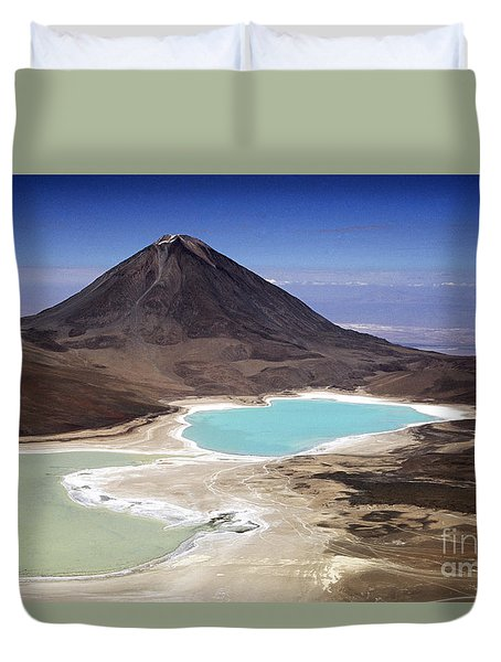Licancabur Volcano And Laguna Verde Duvet Cover by James Brunker
