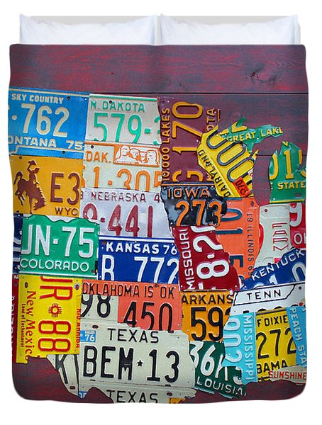 License Plate Map Of The United States Duvet Cover by Design Turnpike