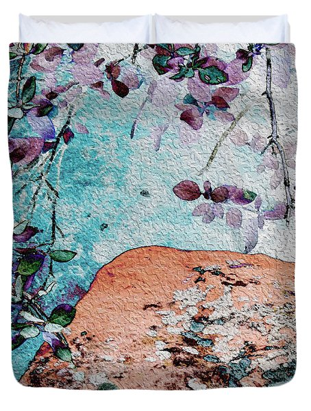 Lichen And Leaves Duvet Cover