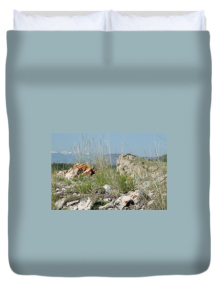 Lichen Covered Rocks At Missouri Headwaters State Park Montana Duvet Cover