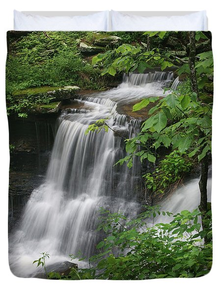Lichen Falls Ozark National Forest Duvet Cover