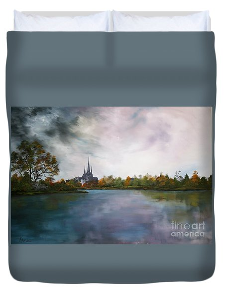 Lichfield Catherdral A View From Stowe Pool Duvet Cover by Jean Walker