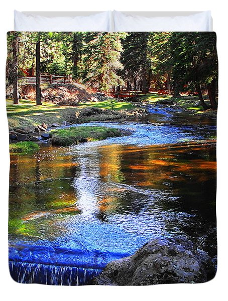 Life By A Babbling Brook Duvet Cover by Natalie Ortiz