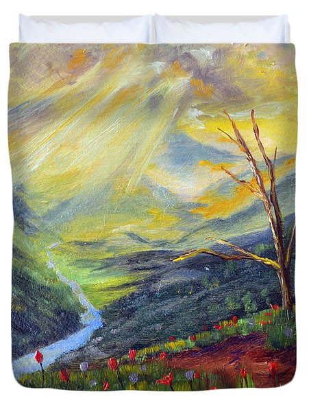 Duvet Cover featuring the painting Life Force by Meaghan Troup