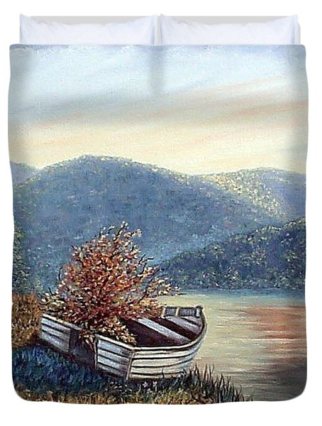 Duvet Cover featuring the painting Life Goes On by Fran Brooks