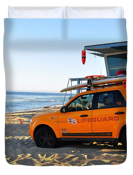 Duvet Cover featuring the digital art Life Guard  by Gandz Photography
