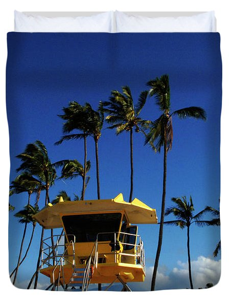 Life Guard Station Duvet Cover by Bob Christopher