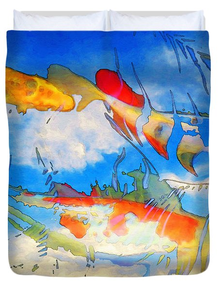 Life Is But A Dream - Koi Fish Art Duvet Cover by Sharon Cummings