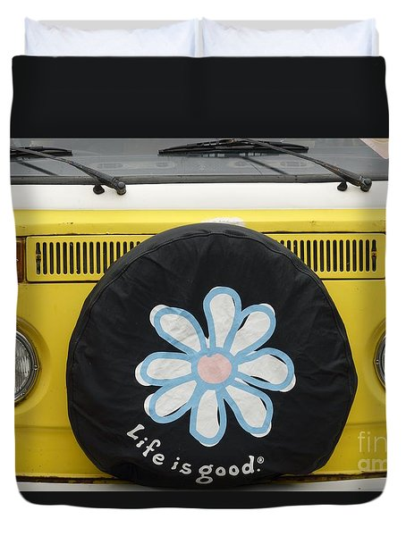 Life Is Good With Vw Duvet Cover by Wendy Wilton