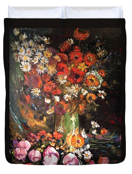 Duvet Cover featuring the painting Life Is Like A Vase Of Flowers by Belinda Low