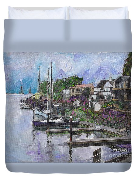 Alameda Life On The Estuary Duvet Cover by Linda Weinstock