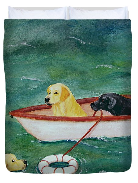 Lifeboat Labrador Dogs To The Rescue Duvet Cover