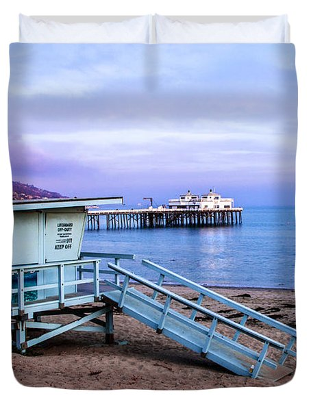Lifeguard Tower And Malibu Beach Pier Seascape Fine Art Photograph Print Duvet Cover by Jerry Cowart