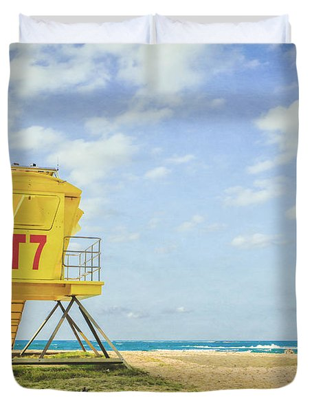 Lifeguard Tower At The Beach Duvet Cover