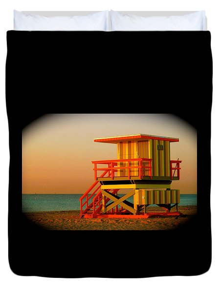 Lifeguard Tower In Miami Beach Duvet Cover by Monique Wegmueller