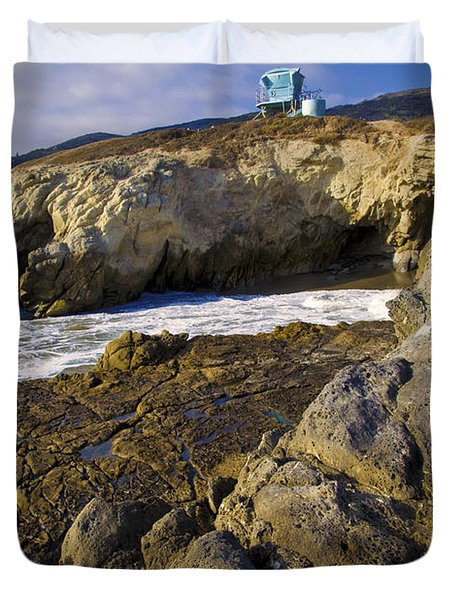 Lifeguard Tower On The Edge Of A Cliff Duvet Cover by David Millenheft