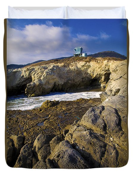 Lifeguard Tower On The Edge Of A Cliff Duvet Cover