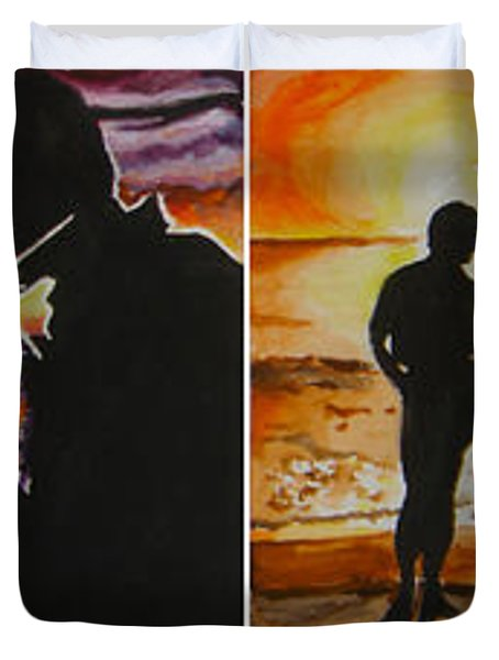 Duvet Cover featuring the painting Life's A Beach by Tamir Barkan