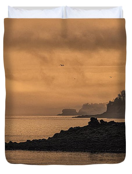 Duvet Cover featuring the photograph Lifting Fog At Sunrise On Campobello Coastline by Marty Saccone