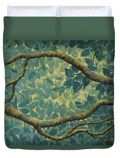Light And Leaves Duvet Cover