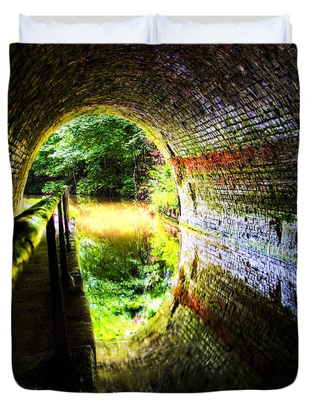 Duvet Cover featuring the photograph Light At The End Of The Tunnel by Meirion Matthias