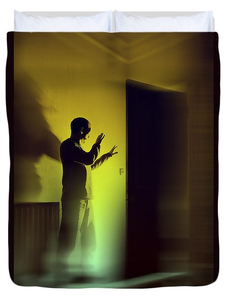 Duvet Cover featuring the photograph Light Behind Door by Craig B