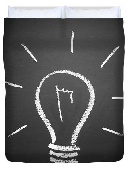 Light Bulb On A Chalkboard Duvet Cover