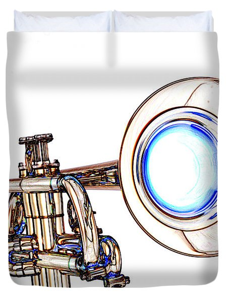 Light Color Drawing Of A Trumpet Bell Isolated 3018.06 Duvet Cover