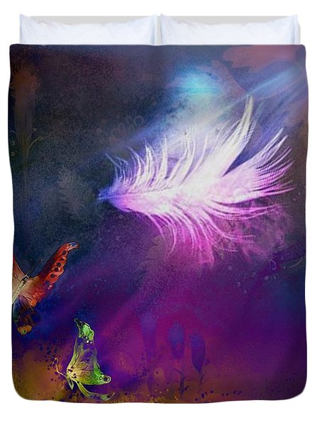 Duvet Cover featuring the painting Light Feather by Lilia D