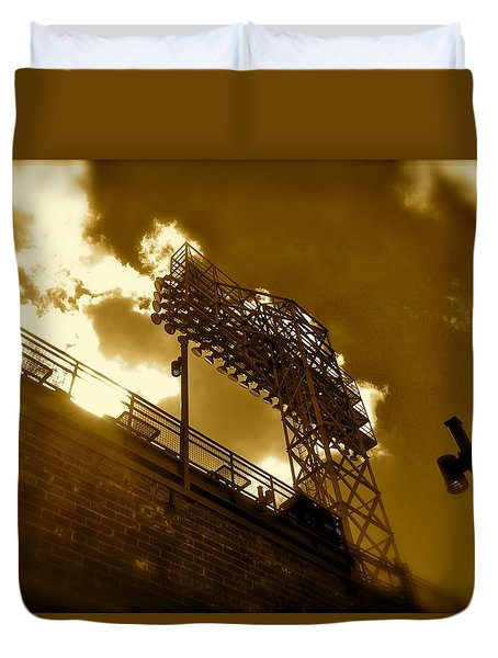 Duvet Cover featuring the photograph Light  Fenway Park by Iconic Images Art Gallery David Pucciarelli
