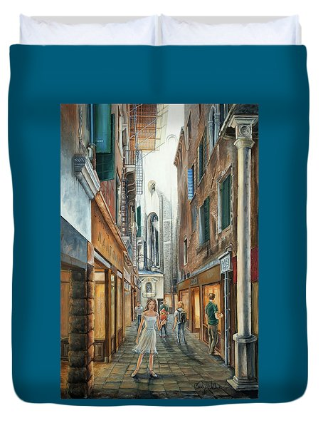 Light From San Salvador Merceria Del Capitello San Marco Venezia Duvet Cover