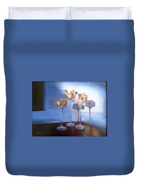 Duvet Cover featuring the painting Light Glass And Shells by LaVonne Hand