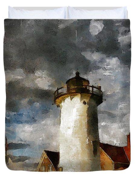 Light House In A Storm Duvet Cover