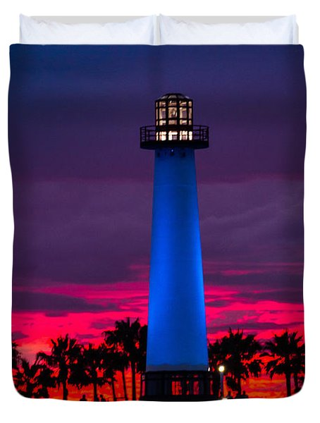 Light House In The Firey Sky Duvet Cover