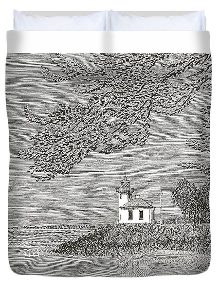 Light House On San Juan Island Lime Point Lighthouse Duvet Cover by Jack Pumphrey