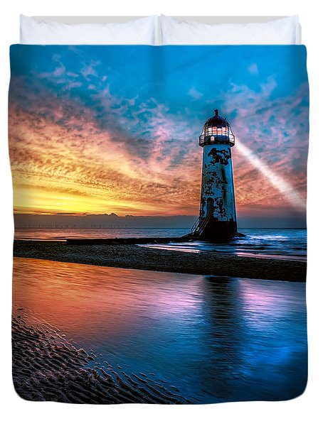 Light House Sunset Duvet Cover