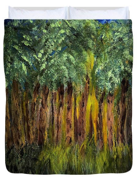 Light In The Forest Duvet Cover by Dick Bourgault