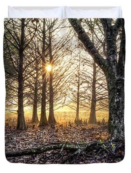 Light In The Trees Duvet Cover by Debra and Dave Vanderlaan
