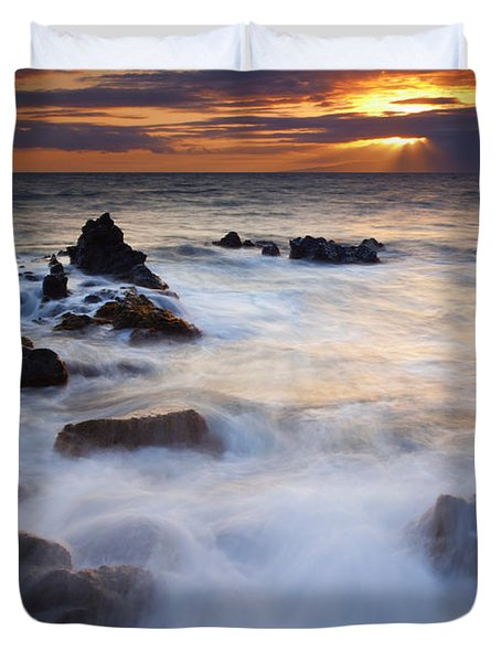 Light Over Lanai Duvet Cover by Mike  Dawson