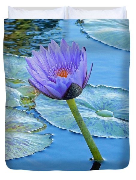 Light Purple Water Lily Duvet Cover by Pamela Walton