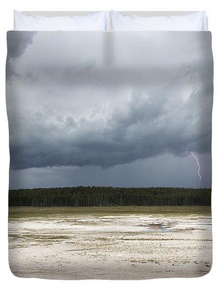 Lightening At Yellowstone Duvet Cover by Belinda Greb