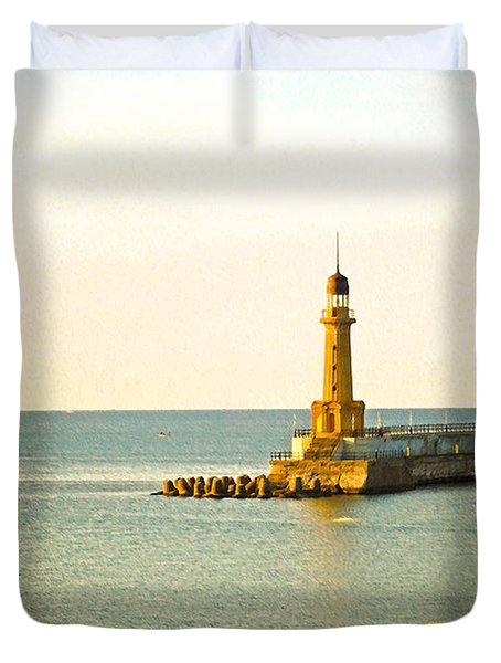 Lighthouse - Alexandria Egypt Duvet Cover by Mary Machare
