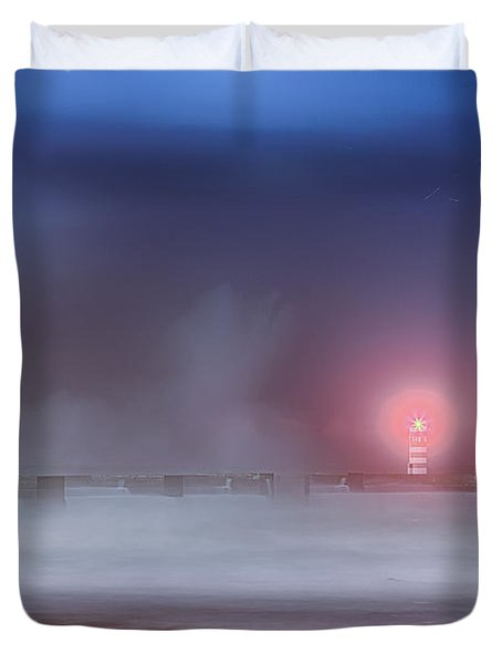 Lighthouse And Big Waves Duvet Cover