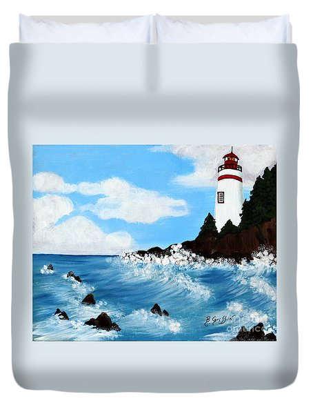 Lighthouse And Sunkers Duvet Cover by Barbara Griffin